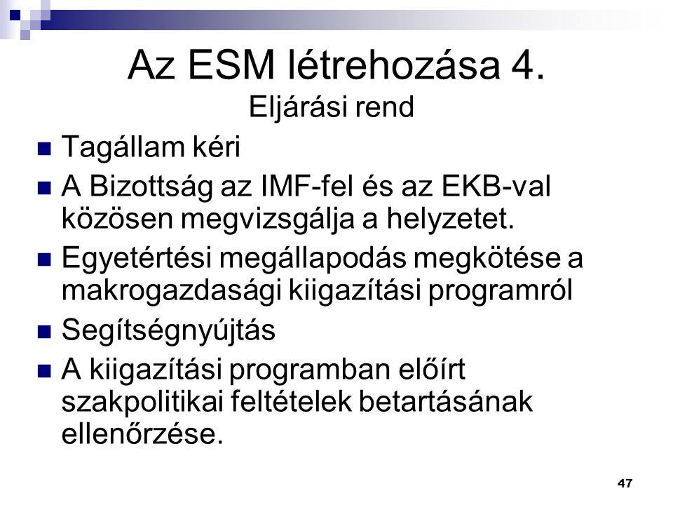 47 Az ESM létrehozása 4. Eljárási rend Tagállam kéri A Bizottság az IMF-fel és az EKB-val közösen megvizsgálja a helyzetet. Egyetértési megállapodás m