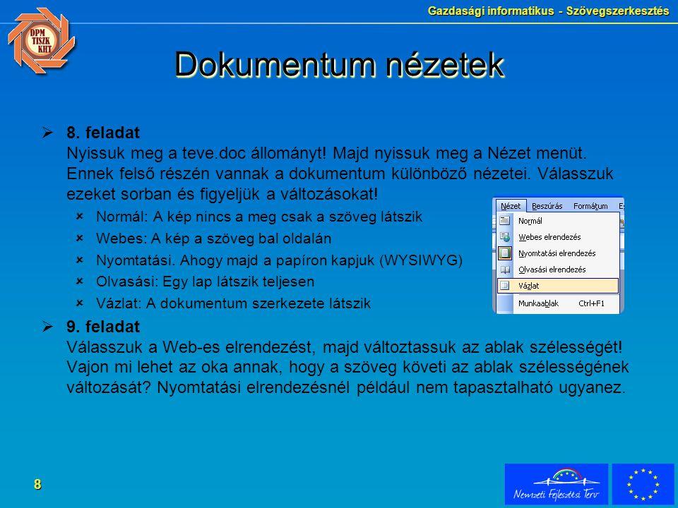 Gazdasági informatikus - Szövegszerkesztés 8 Dokumentum nézetek  8.