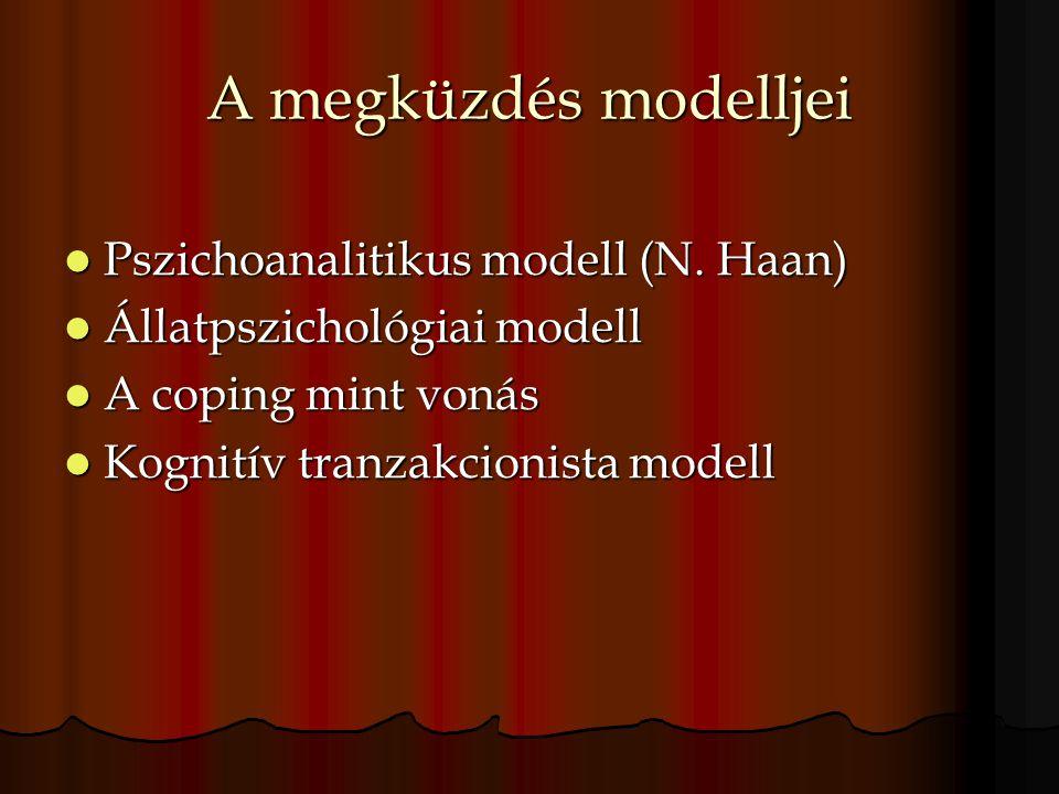 A megküzdés modelljei Pszichoanalitikus modell (N. Haan) Pszichoanalitikus modell (N. Haan) Állatpszichológiai modell Állatpszichológiai modell A copi