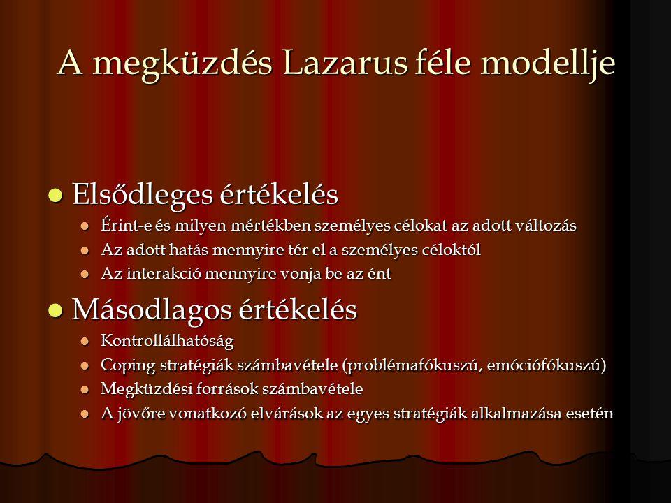 A megküzdés Lazarus féle modellje Elsődleges értékelés Elsődleges értékelés Érint-e és milyen mértékben személyes célokat az adott változás Érint-e és