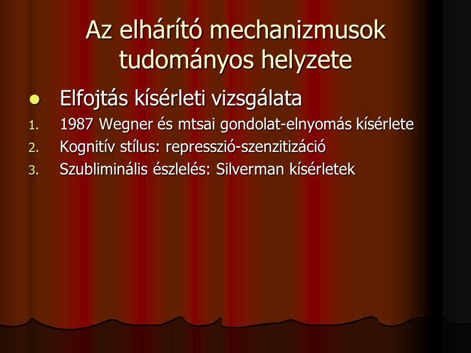 Az elhárító mechanizmusok tudományos helyzete Elfojtás kísérleti vizsgálata Elfojtás kísérleti vizsgálata 1. 1987 Wegner és mtsai gondolat-elnyomás kí