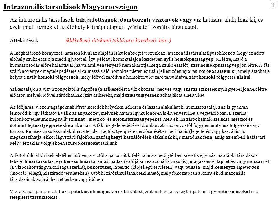 Intrazonális társulások Magyarországon Az intrazonális társulások talajadottságok, domborzati viszonyok vagy víz hatására alakulnak ki, és ezek miatt