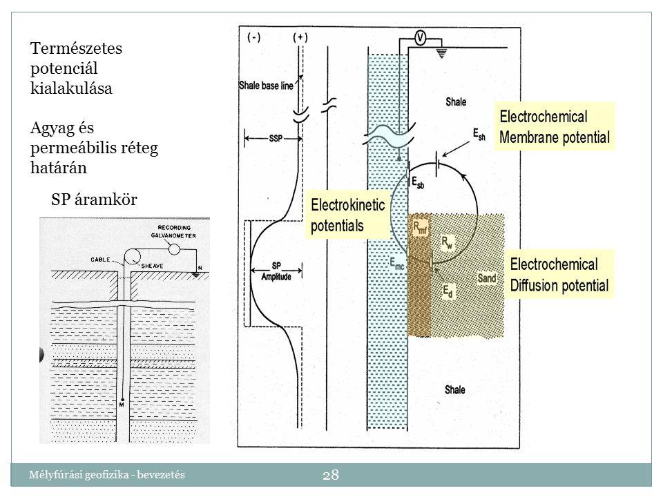Mélyfúrási geofizika - bevezetés 28 Természetes potenciál kialakulása Agyag és permeábilis réteg határán SP áramkör
