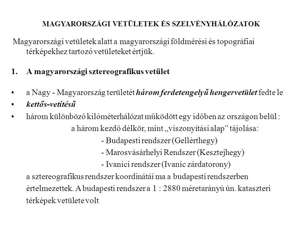 MAGYARORSZÁGI VETÜLETEK ÉS SZELVÉNYHÁLÓZATOK Magyarországi vetületek alatt a magyarországi földmérési és topográfiai térképekhez tartozó vetületeket é