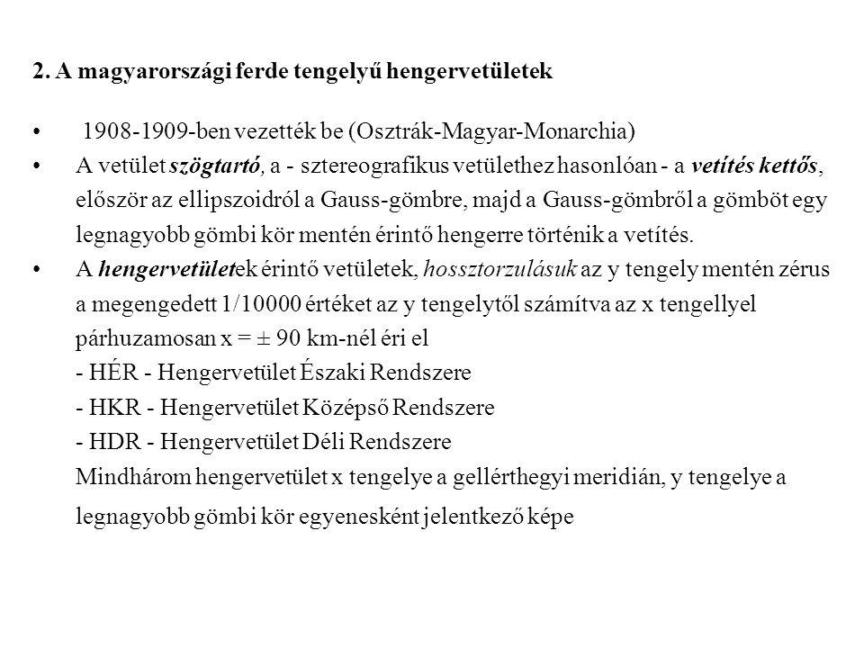 2. A magyarországi ferde tengelyű hengervetületek 1908-1909-ben vezették be (Osztrák-Magyar-Monarchia) A vetület szögtartó, a - sztereografikus vetüle
