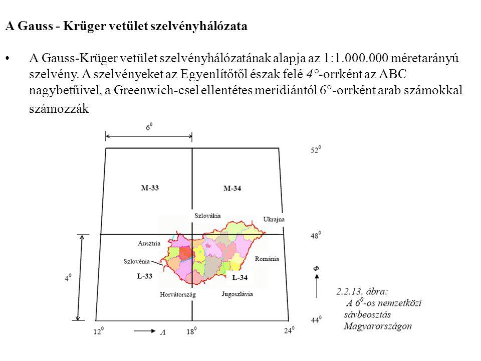 A Gauss - Krüger vetület szelvényhálózata A Gauss-Krüger vetület szelvényhálózatának alapja az 1:1.000.000 méretarányú szelvény. A szelvényeket az Egy