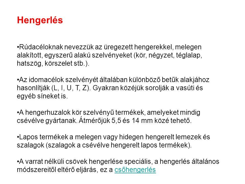 Hengerlés Rúdacéloknak nevezzük az üregezett hengerekkel, melegen alakított, egyszerű alakú szelvényeket (kör, négyzet, téglalap, hatszög, körszelet s