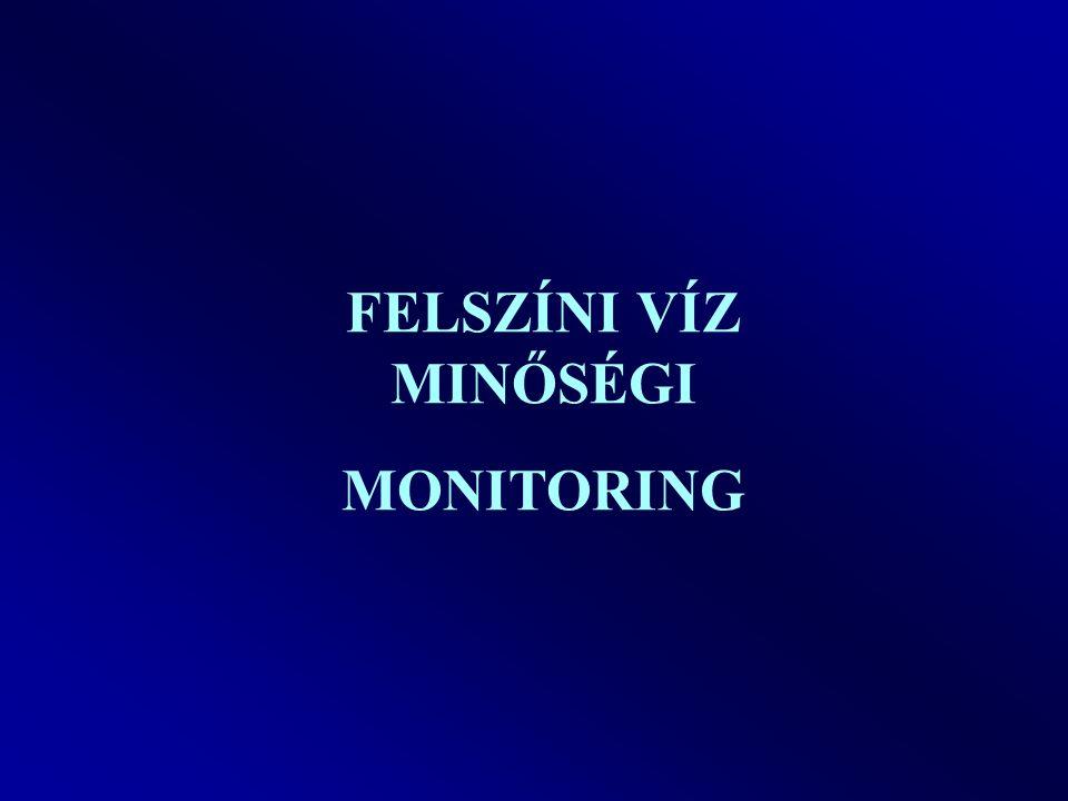 Felszíni vízminőségi monitoring 1968-tól rendszeres vízminőség vizsgálatok 1994-től MSZ 12749:Felszíni vizek minősége, minőségi jellemzők és minősítés 2007-től Víz Keretirányelv (kémia+biológia) Emisszió monitoring (szennyvízkibocsátók) elle nőrzése 1984-től