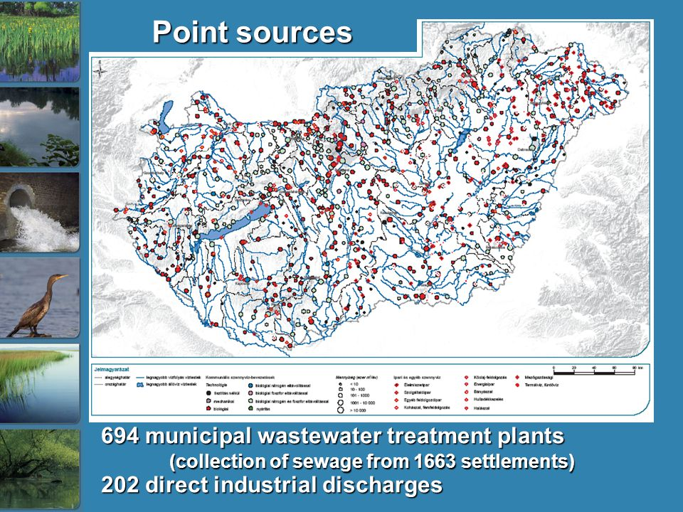 Point sources 694 municipal wastewater treatment plants (collection of sewage from 1663 settlements) 202 direct industrial discharges