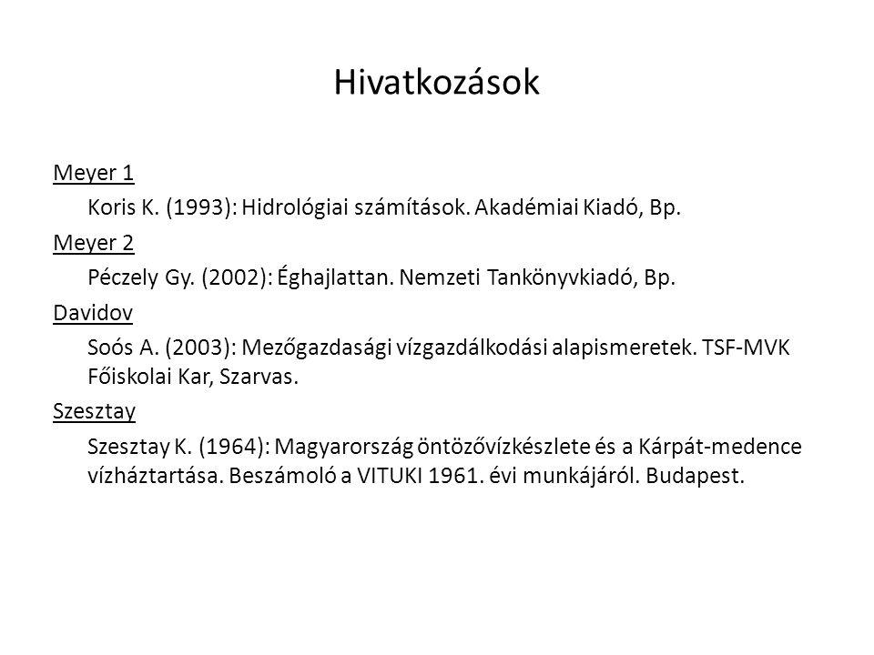 Hivatkozások Meyer 1 Koris K.(1993): Hidrológiai számítások.