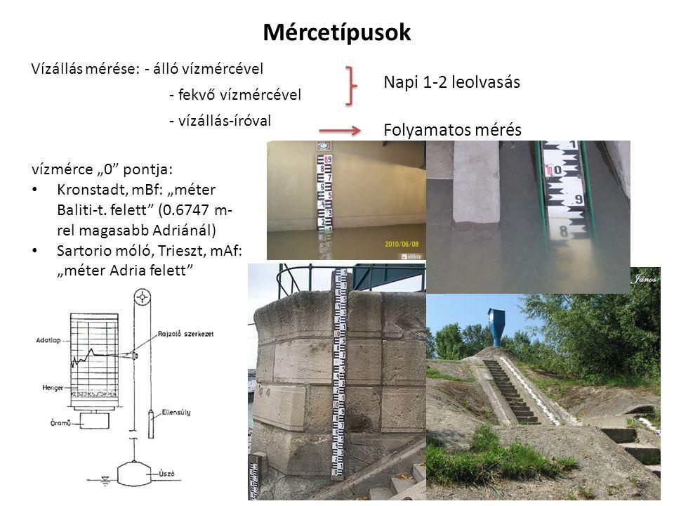 """9 Mércetípusok Vízállás mérése: - álló vízmércével - fekvő vízmércével - vízállás-íróval Napi 1-2 leolvasás Folyamatos mérés vízmérce """"0 pontja: Kronstadt, mBf: """"méter Baliti-t."""