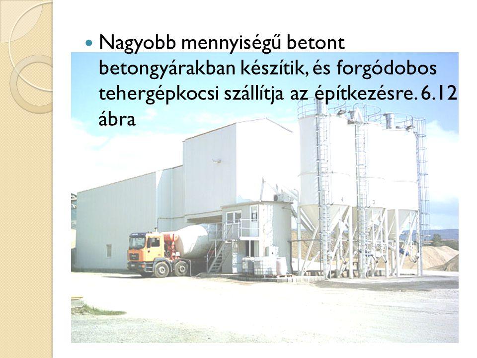 Nagyobb mennyiségű betont betongyárakban készítik, és forgódobos tehergépkocsi szállítja az építkezésre. 6.12 ábra