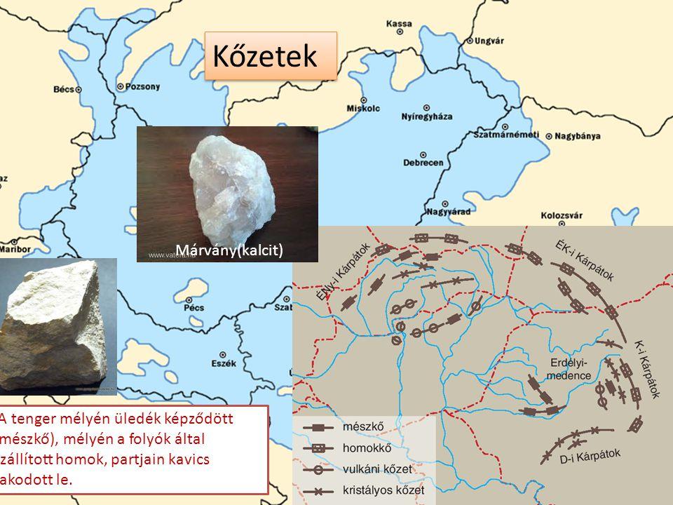 Pannon tenger Kőzetek A tenger mélyén üledék képződött (mészkő), mélyén a folyók által szállított homok, partjain kavics rakodott le. Márvány(kalcit)