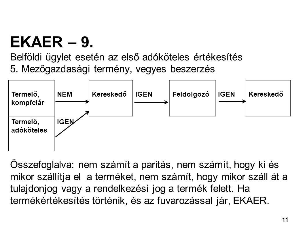 11 EKAER – 9.Belföldi ügylet esetén az első adóköteles értékesítés 5.