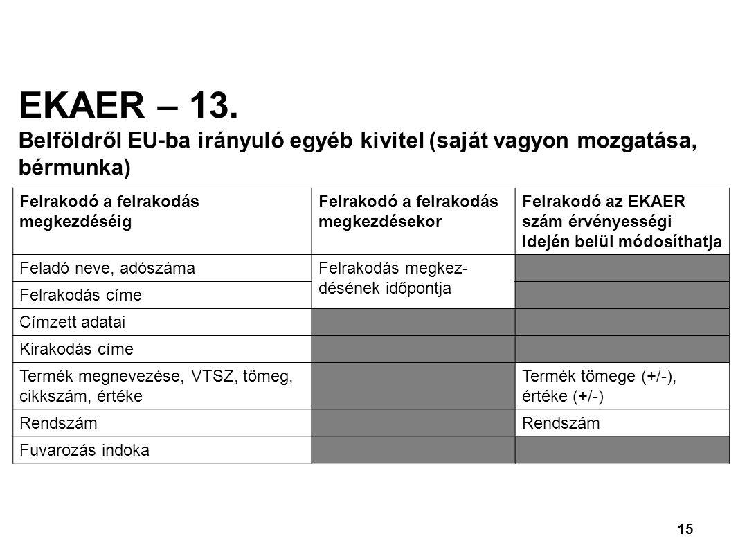 15 EKAER – 13.