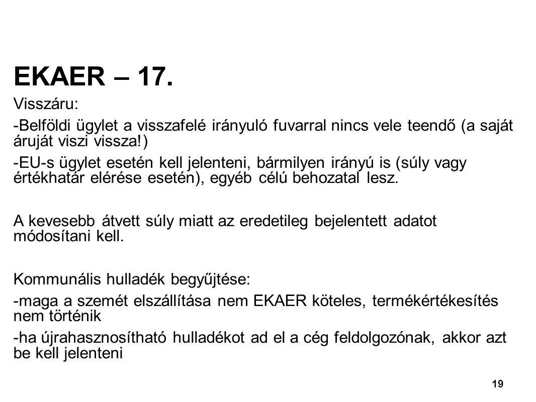 19 EKAER – 17.
