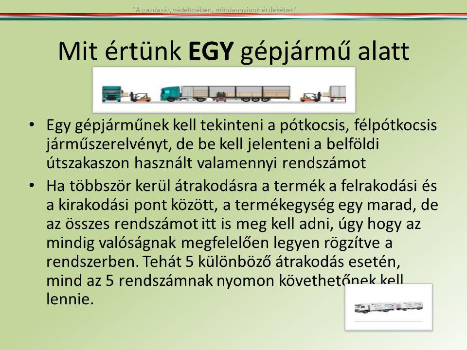 Mit értünk EGY gépjármű alatt Egy gépjárműnek kell tekinteni a pótkocsis, félpótkocsis járműszerelvényt, de be kell jelenteni a belföldi útszakaszon h