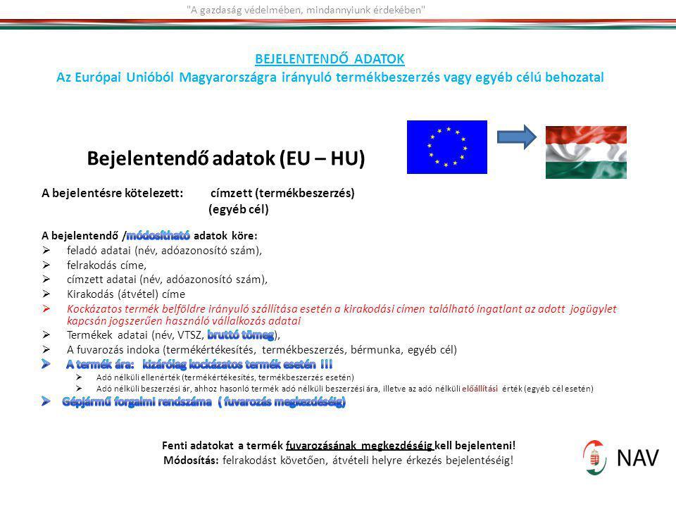 Bejelentendő adatok (EU – HU)