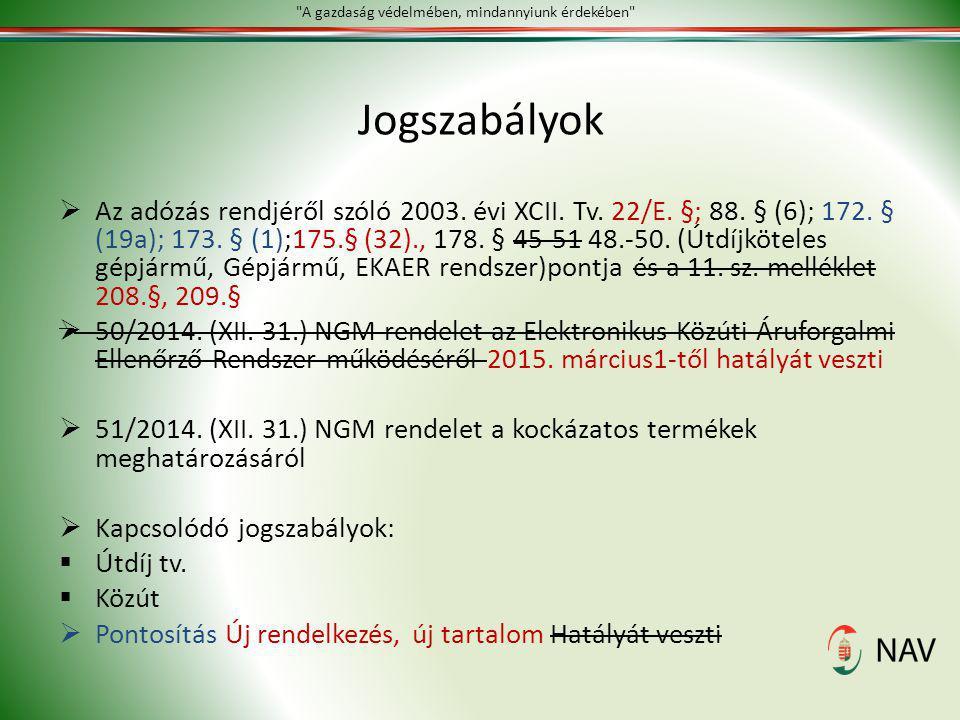 Jogszabályok  Az adózás rendjéről szóló 2003. évi XCII. Tv. 22/E. §; 88. § (6); 172. § (19a); 173. § (1);175.§ (32)., 178. § 45-51 48.-50. (Útdíjköte