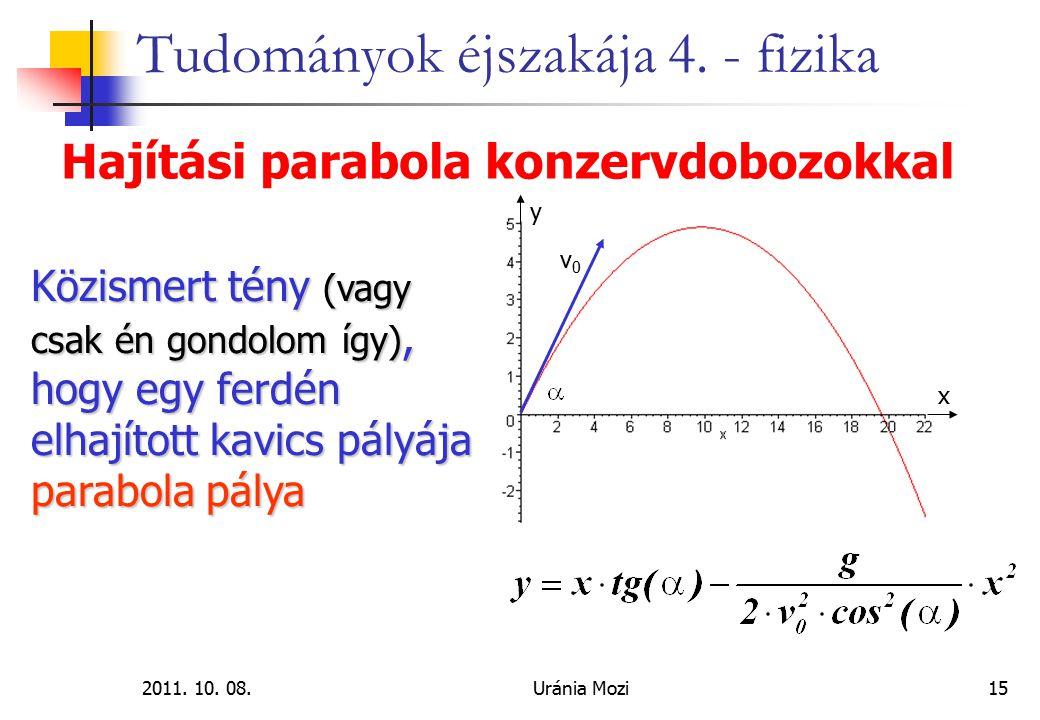 2011. 10. 08.Uránia Mozi15 Tudományok éjszakája 4. - fizika Hajítási parabola konzervdobozokkal Közismert tény (vagy csak én gondolom így), hogy egy f