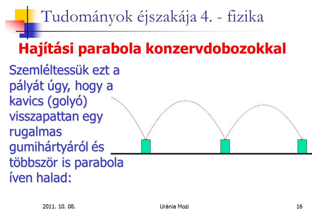 2011. 10. 08.Uránia Mozi16 Tudományok éjszakája 4. - fizika Hajítási parabola konzervdobozokkal Szemléltessük ezt a pályát úgy, hogy a kavics (golyó)
