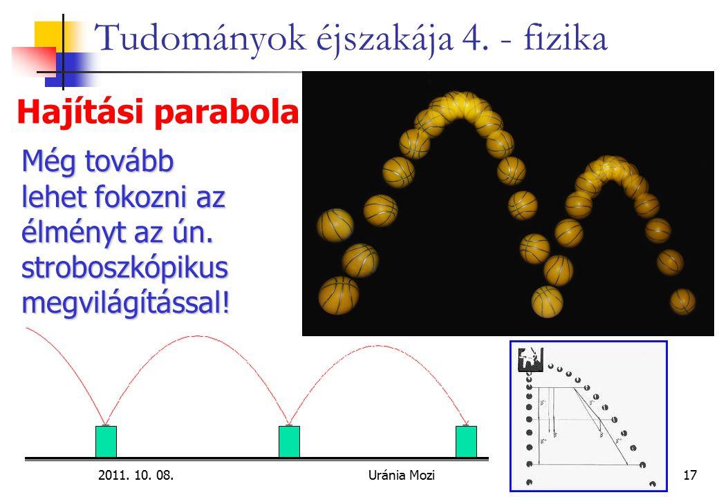 2011. 10. 08.Uránia Mozi17 Tudományok éjszakája 4. - fizika Hajítási parabola Még tovább lehet fokozni az élményt az ún. stroboszkópikus megvilágításs