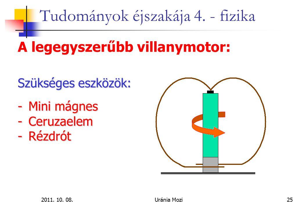 2011. 10. 08.Uránia Mozi25 Tudományok éjszakája 4. - fizika A legegyszerűbb villanymotor: Szükséges eszközök: -Mini mágnes -Ceruzaelem -Rézdrót