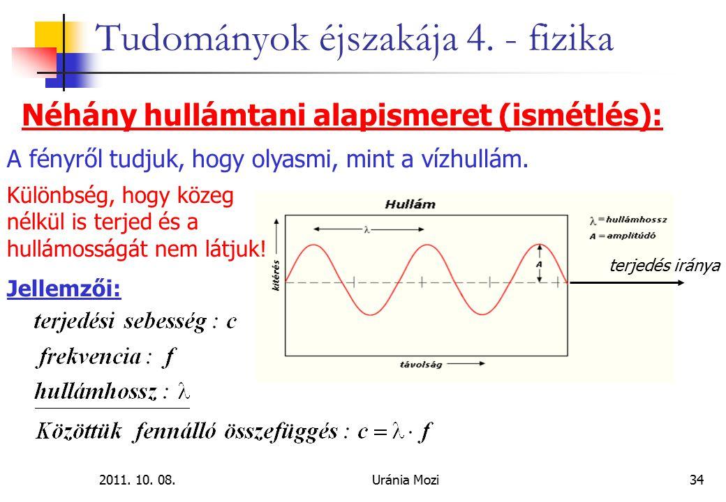 2011. 10. 08.Uránia Mozi34 Tudományok éjszakája 4. - fizika Néhány hullámtani alapismeret (ismétlés): terjedés iránya Különbség, hogy közeg nélkül is