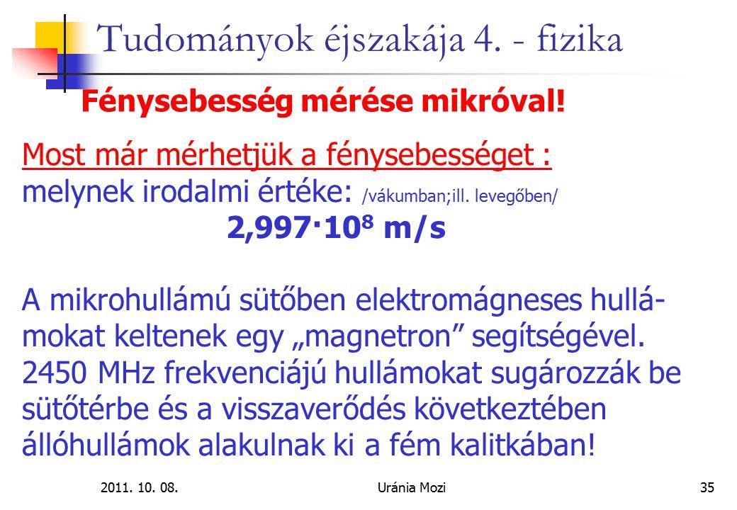 2011. 10. 08.Uránia Mozi35 Tudományok éjszakája 4. - fizika Fénysebesség mérése mikróval! Most már mérhetjük a fénysebességet : melynek irodalmi érték