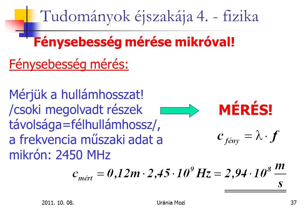 2011. 10. 08.Uránia Mozi37 Tudományok éjszakája 4. - fizika Fénysebesség mérése mikróval! Fénysebesség mérés: Mérjük a hullámhosszat! /csoki megolvadt