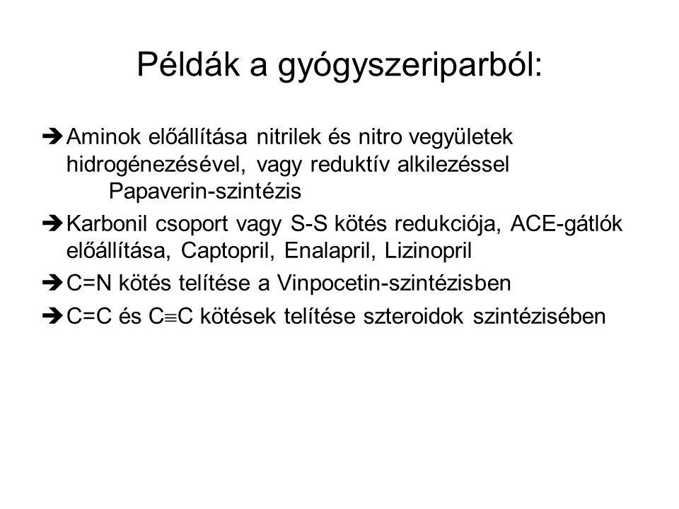 Példák a gyógyszeriparból:  Aminok előállítása nitrilek és nitro vegyületek hidrogénezésével, vagy reduktív alkilezéssel Papaverin-szintézis  Karbon