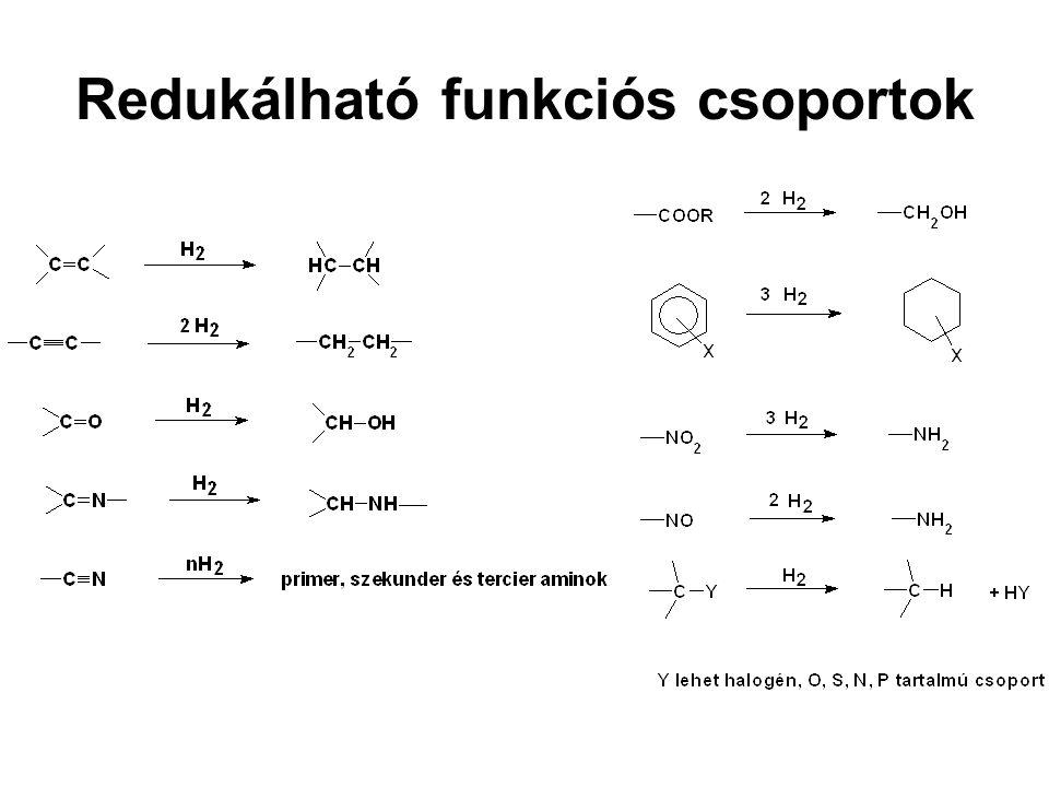 Példák a gyógyszeriparból:  Aminok előállítása nitrilek és nitro vegyületek hidrogénezésével, vagy reduktív alkilezéssel Papaverin-szintézis  Karbonil csoport vagy S-S kötés redukciója, ACE-gátlók előállítása, Captopril, Enalapril, Lizinopril  C=N kötés telítése a Vinpocetin-szintézisben  C=C és C  C kötések telítése szteroidok szintézisében
