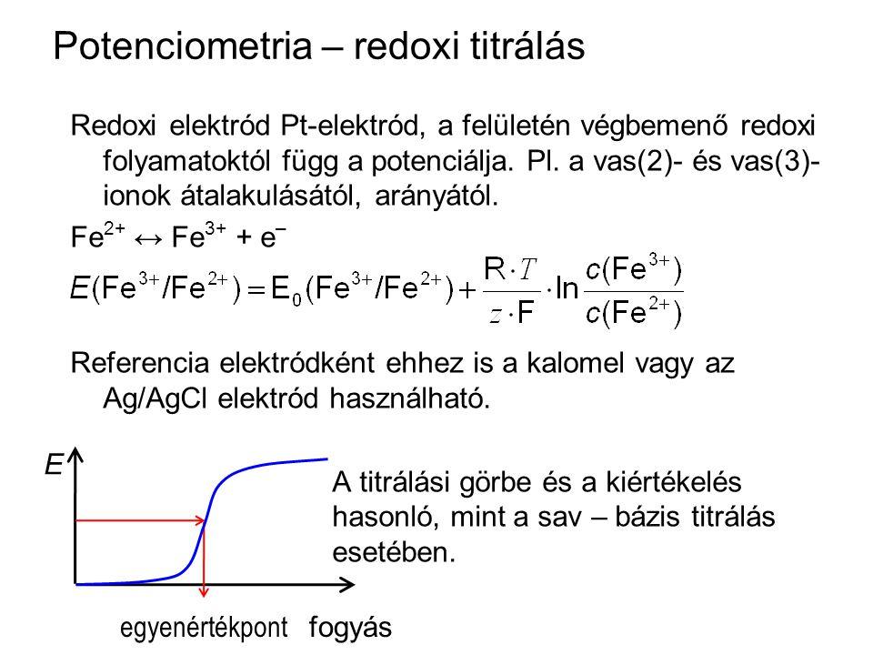 Potenciometria – redoxi titrálás Redoxi elektród Pt-elektród, a felületén végbemenő redoxi folyamatoktól függ a potenciálja. Pl. a vas(2)- és vas(3)-