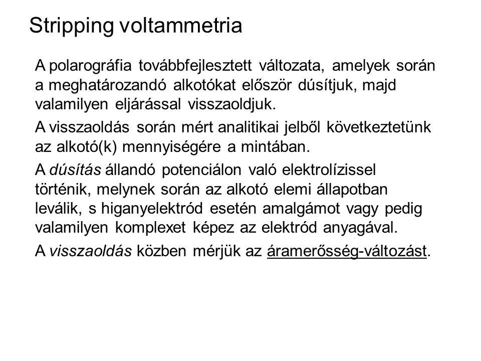 Stripping voltammetria A polarográfia továbbfejlesztett változata, amelyek során a meghatározandó alkotókat először dúsítjuk, majd valamilyen eljáráss