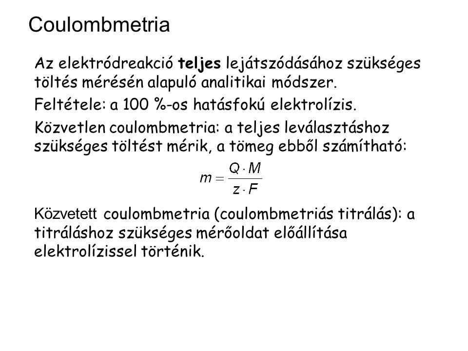 Coulombmetria Az elektródreakció teljes lejátszódásához szükséges töltés mérésén alapuló analitikai módszer. Feltétele: a 100 %-os hatásfokú elektrolí