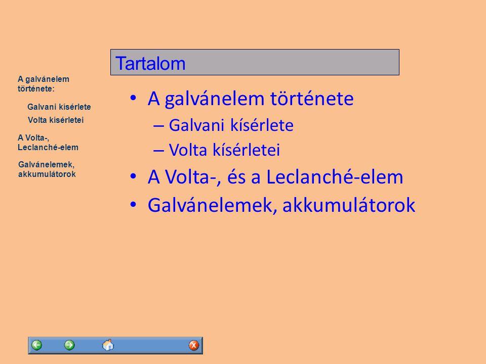 """A Volta-, Leclanché-elem Galvánelemek, akkumulátorok A galvánelem története: Volta kísérletei Galvani kísérlete Luigi Galvani (1737-1798) olasz anatómus """".."""