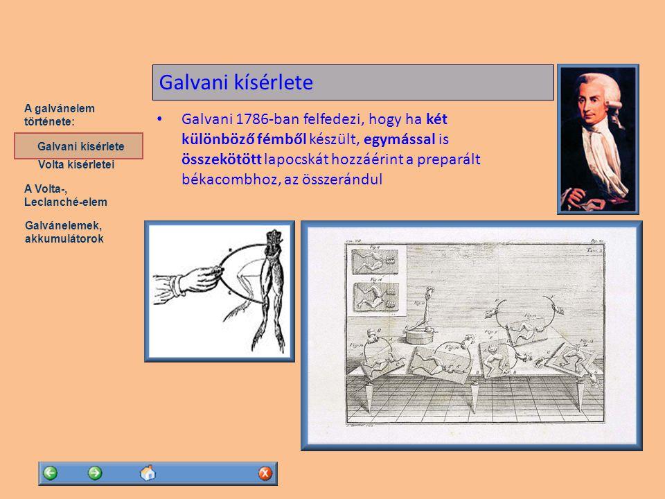 A Volta-, Leclanché-elem Galvánelemek, akkumulátorok A galvánelem története: Volta kísérletei Galvani kísérlete A Lechlanché-elem Leclanché-elem (1868): elektrolit: szalmiáksó (NH 4 Cl) vizes oldata pozitív elektróda: barnakőbe (mangándioxid, MnO 2 ) ágyazott szénrúd negatív elektróda: cinklemez A két elektróda között ~ 1,5 V feszültség jön létre Georges Leclanché (1839-1882)