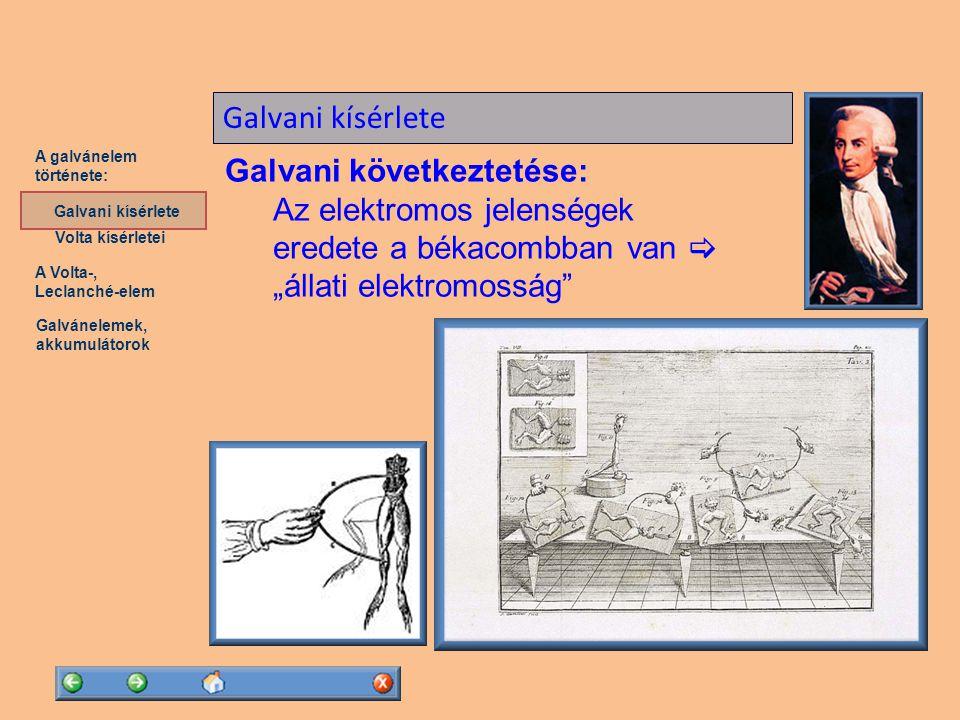 A Volta-, Leclanché-elem Galvánelemek, akkumulátorok A galvánelem története: Volta kísérletei Galvani kísérlete Alessandro Volta (1745-1827)...