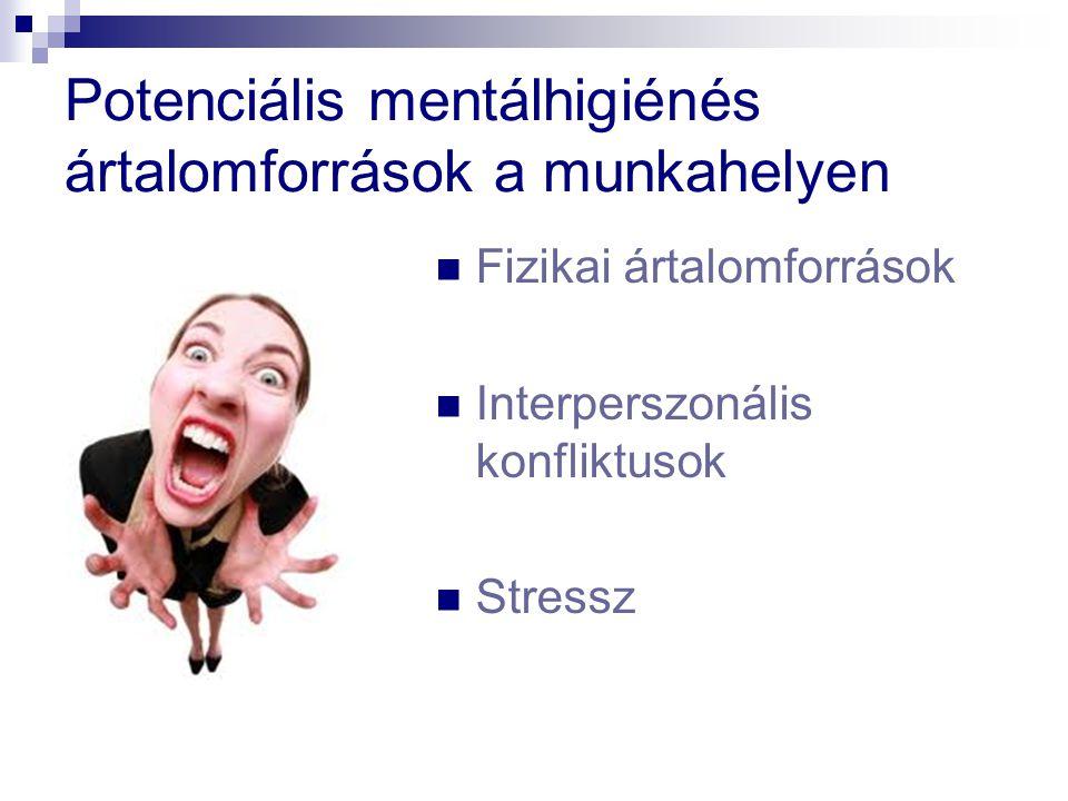 Potenciális mentálhigiénés ártalomforrások a munkahelyen Fizikai ártalomforrások Interperszonális konfliktusok Stressz