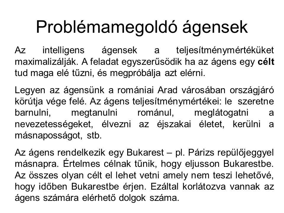 Problémamegoldó ágensek Az intelligens ágensek a teljesítménymértéküket maximalizálják. A feladat egyszerűsödik ha az ágens egy célt tud maga elé tűzn