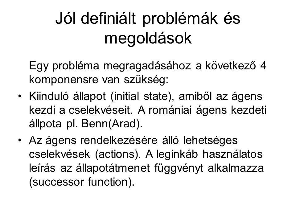 Jól definiált problémák és megoldások Egy probléma megragadásához a következő 4 komponensre van szükség: Kiinduló állapot (initial state), amiből az á