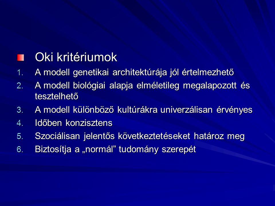 Oki kritériumok 1.A modell genetikai architektúrája jól értelmezhető 2.