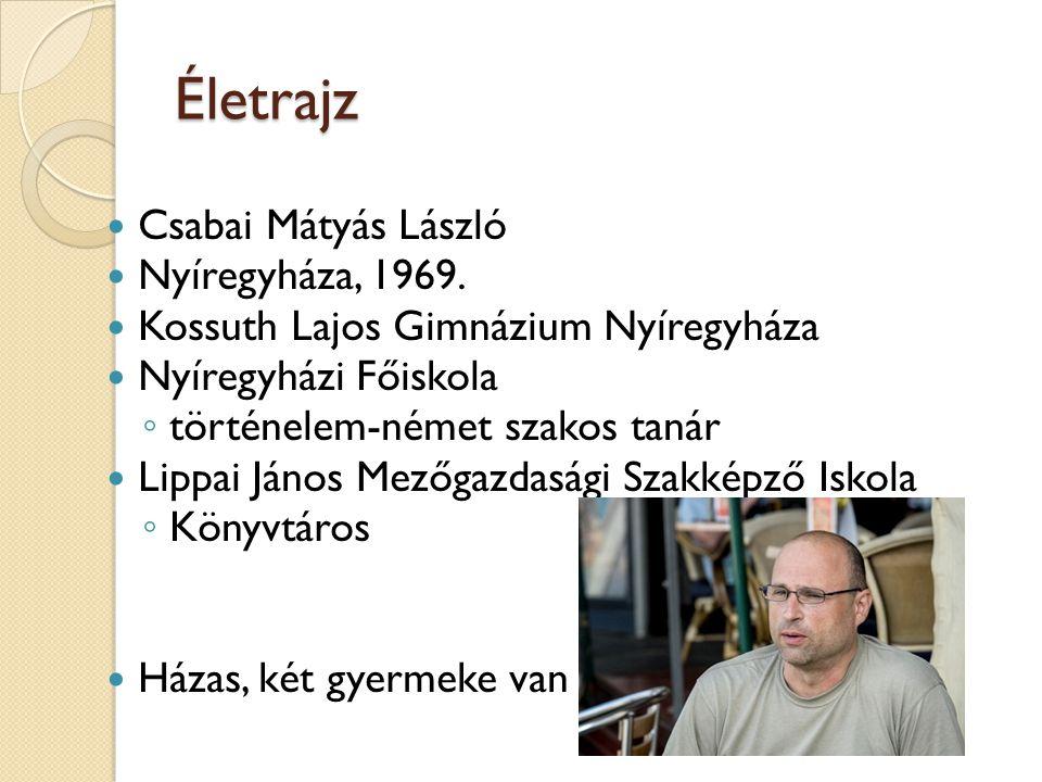 Életrajz Csabai Mátyás László Nyíregyháza, 1969. Kossuth Lajos Gimnázium Nyíregyháza Nyíregyházi Főiskola ◦ történelem-német szakos tanár Lippai János