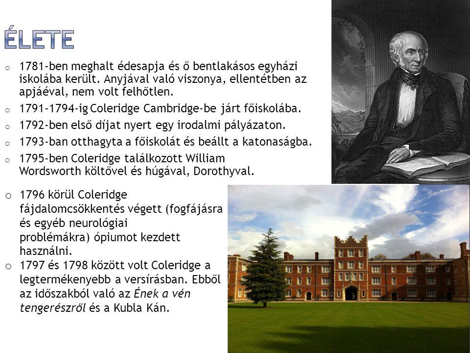  1798-ben Coleridge és Wordsworth közös verseskötetet adott ki Lírai balladák címmel (Lyrical Ballads).