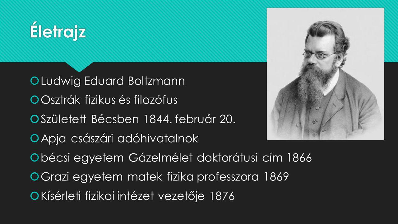 Életrajz  Ludwig Eduard Boltzmann  Osztrák fizikus és filozófus  Született Bécsben 1844.