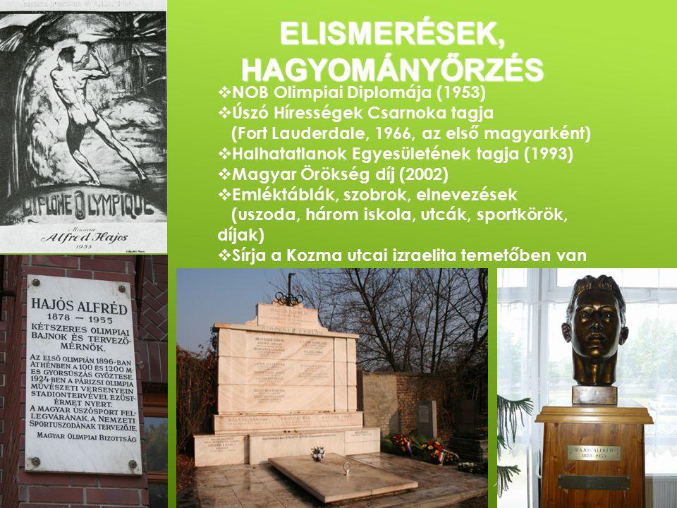  NOB Olimpiai Diplomája (1953)  Úszó Hírességek Csarnoka tagja (Fort Lauderdale, 1966, az első magyarként)  Halhatatlanok Egyesületének tagja (1993)  Magyar Örökség díj (2002)  Emléktáblák, szobrok, elnevezések (uszoda, három iskola, utcák, sportkörök, díjak)  Sírja a Kozma utcai izraelita temetőben van ELISMERÉSEK, HAGYOMÁNYŐRZÉS