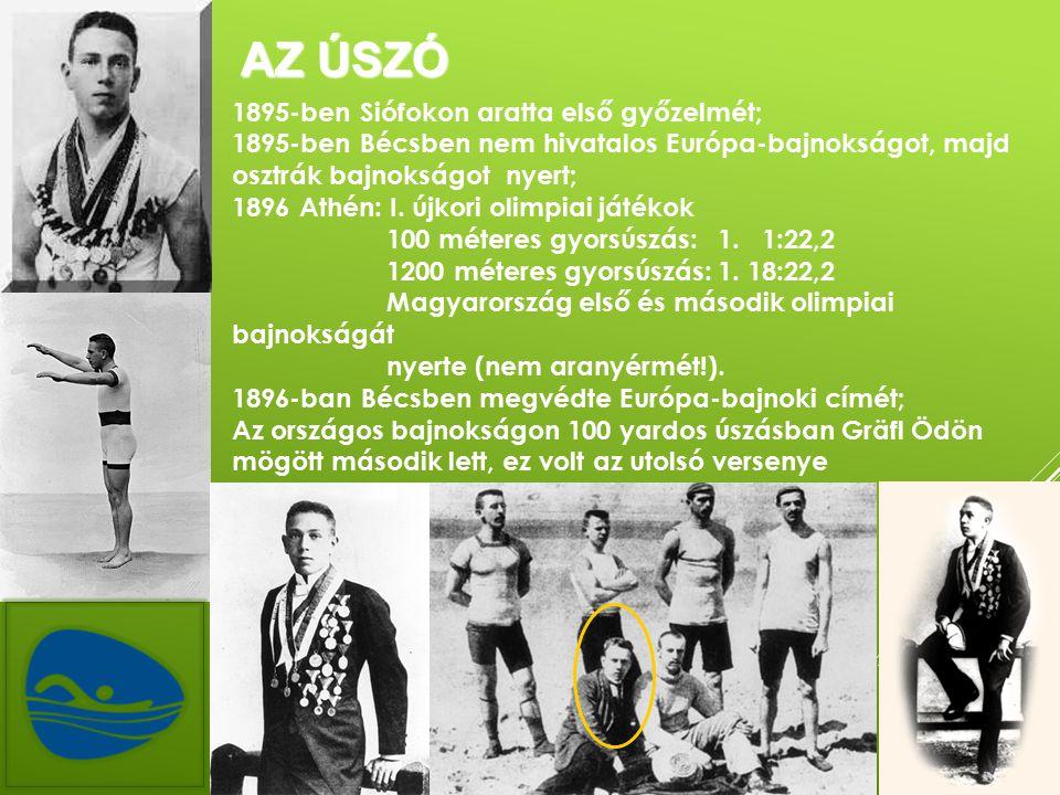 AZ ÚSZÓ 1895-ben Siófokon aratta első győzelmét; 1895-ben Bécsben nem hivatalos Európa-bajnokságot, majd osztrák bajnokságot nyert; 1896 Athén: I.