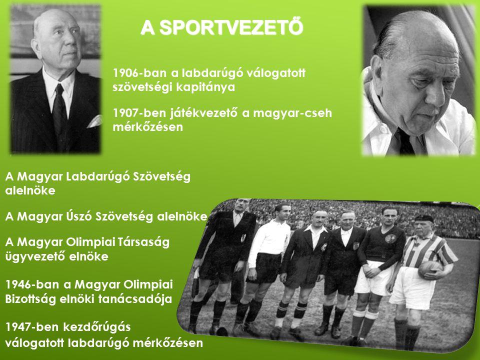 A SPORTVEZETŐ A Magyar Labdarúgó Szövetség alelnöke A Magyar Úszó Szövetség alelnöke A Magyar Olimpiai Társaság ügyvezető elnöke 1946-ban a Magyar Oli