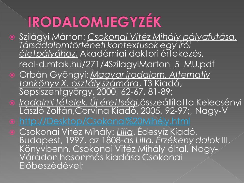  Szilágyi Márton: Csokonai Vitéz Mihály pályafutása. Társadalomtörténeti kontextusok egy írói életpályához, Akadémiai doktori értekezés, real-d.mtak.