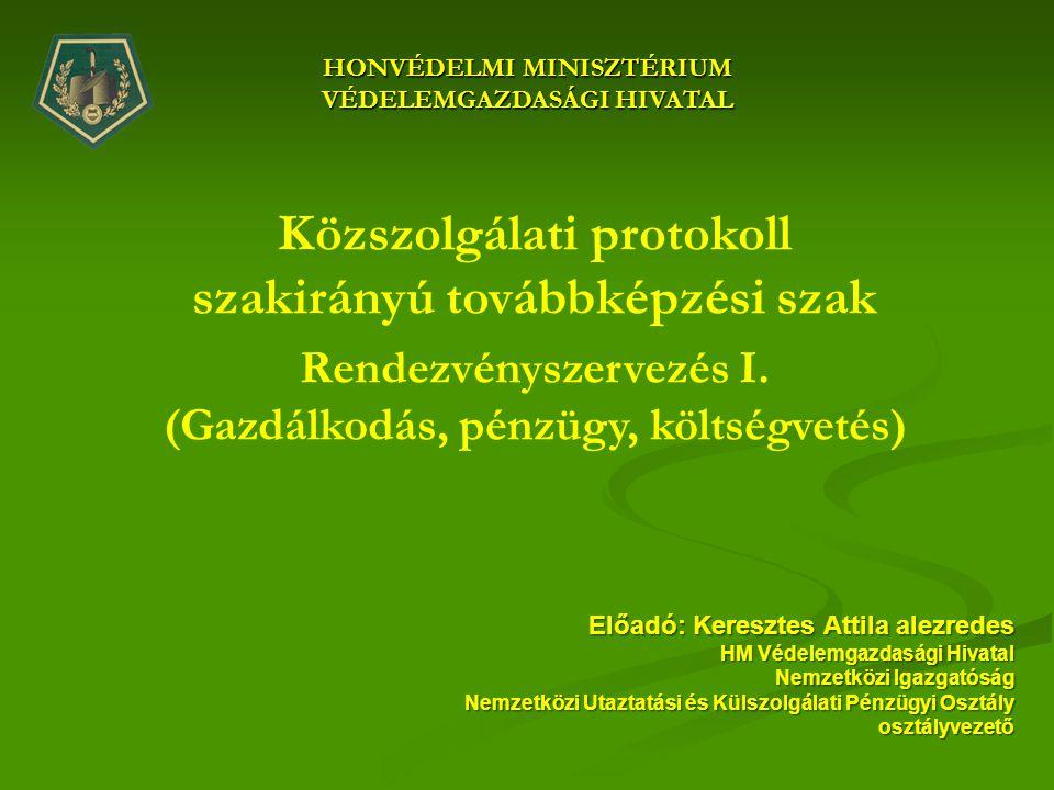 HONVÉDELMI MINISZTÉRIUM VÉDELEMGAZDASÁGI HIVATAL Közszolgálati protokoll szakirányú továbbképzési szak Rendezvényszervezés I. (Gazdálkodás, pénzügy, k